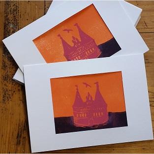 Karte Linoldruck Holstentor bunt